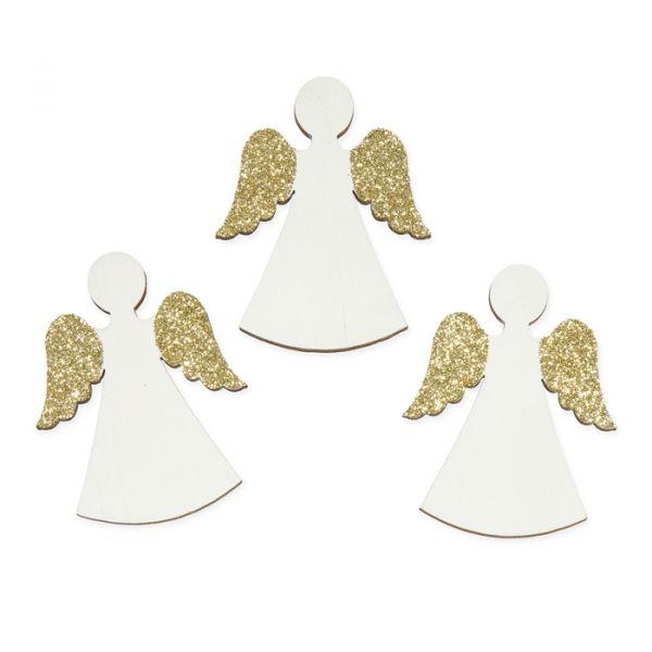 """Holz-Streudeko """"Engel"""" white/gold glitter Hauptbild Detail"""