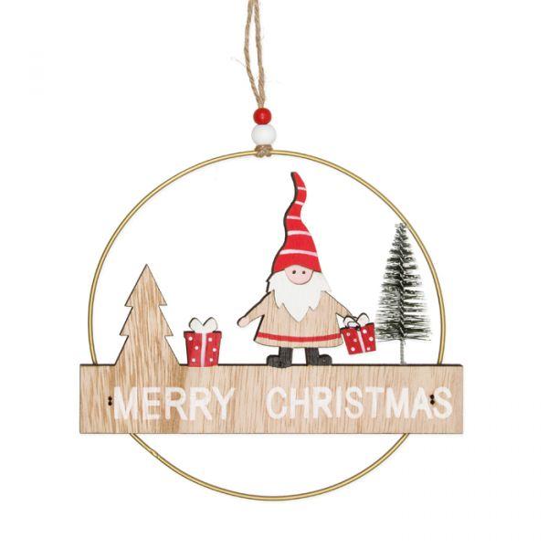 "Deko-Hänger ""Merry Christmas"" natural/gold/red/white Hauptbild Detail"