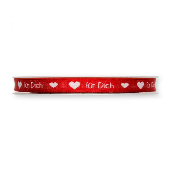 "Jacquardband ""Schrift"" red/white Hauptbild Detail"