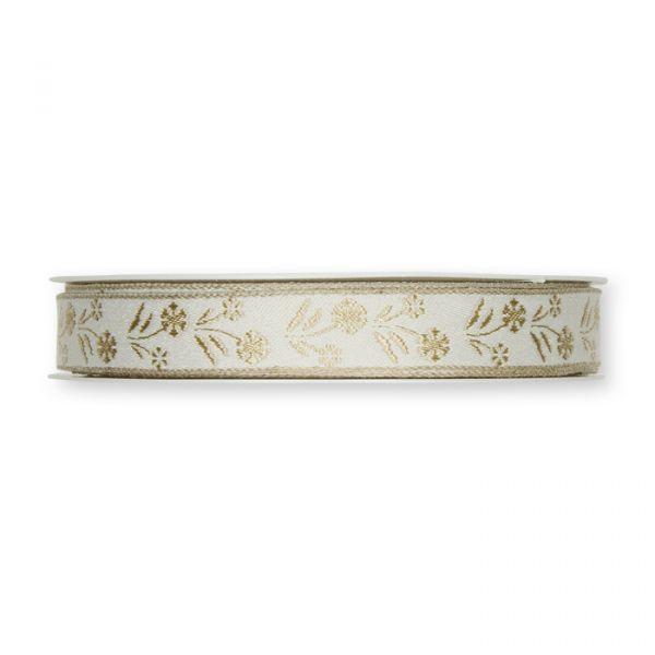 """Jacquardband """"Blumen"""" in 30 mm Breite mit Leinenstreifen white/pearl Hauptbild Detail"""