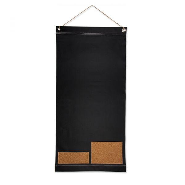 Stoff-Tafel mit aufgenähten Korktaschen black/natural Hauptbild Detail