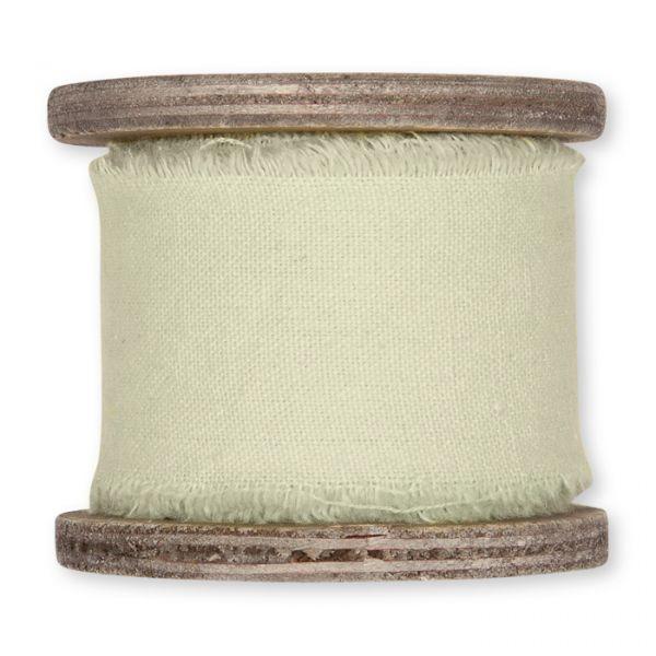 Baumwollband mit gerissenen Kanten auf Holzrolle pale green Hauptbild Detail