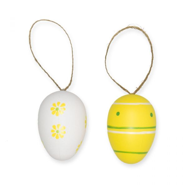 Plastik Ostereier mit Jutehänger yellow/white/green Hauptbild Detail