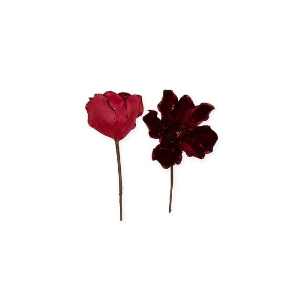 Samt-Blüten mit Glitter wine red/red glitter Hauptbild Detail
