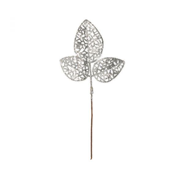 "Glitter-Blätter ""Rose"" silver glitter Hauptbild Detail"