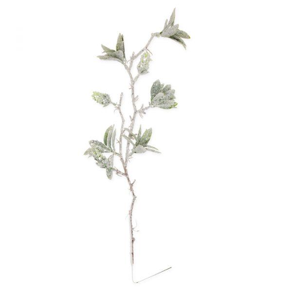 "Deko-Zweig ""Eis-Glitter"" green leaves/white glitter Hauptbild Detail"