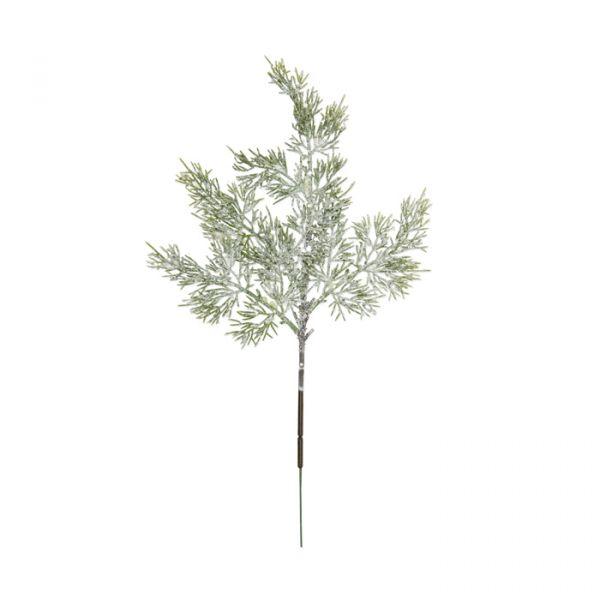 "Deko-Zweige ""Konifere mit Eis-Glitter"" green leaves/white glitter Hauptbild Detail"