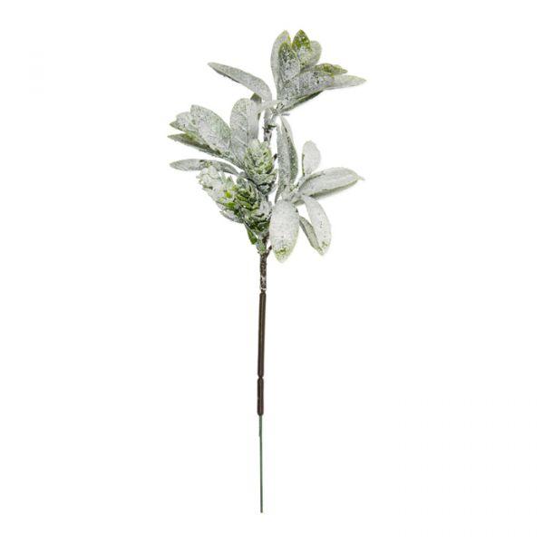"""Deko-Zweige """"Hopfen mit Schnee + Glitter"""" green leaves/white glitter Hauptbild Detail"""