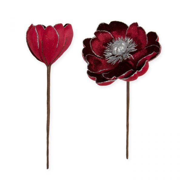 Samt-Blüten mit Glitter wine red/silver glitter Hauptbild Detail