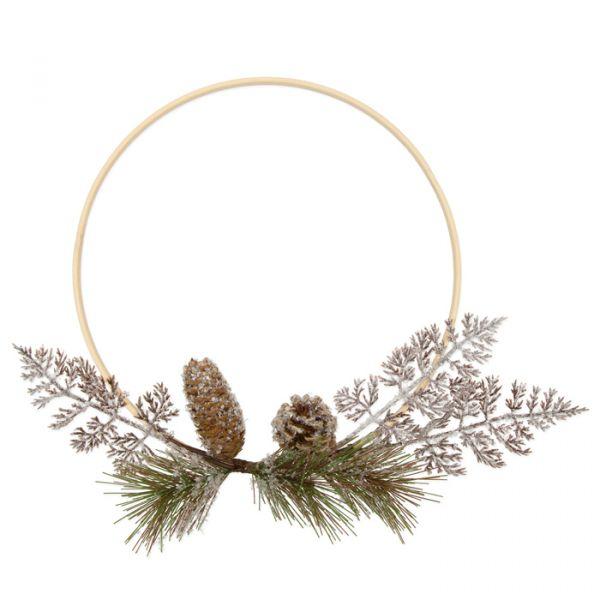 Bambus- Ring mit floraler Deko natural/green/white glitter Hauptbild Detail