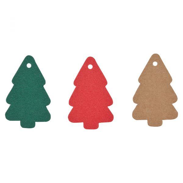 """Papier-Anhänger """"Tannenbaum"""" 3 Farben im Set dark green/red/natural Hauptbild Detail"""