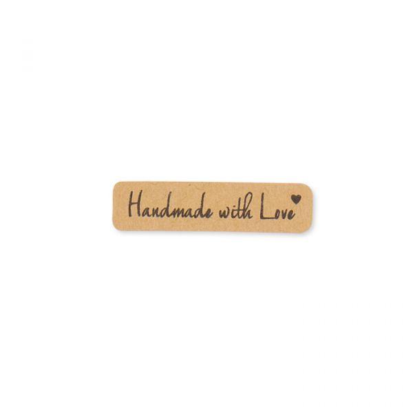 """Papier-Sticker """"Handmade with Love"""" selbstklebend natural Hauptbild Detail"""