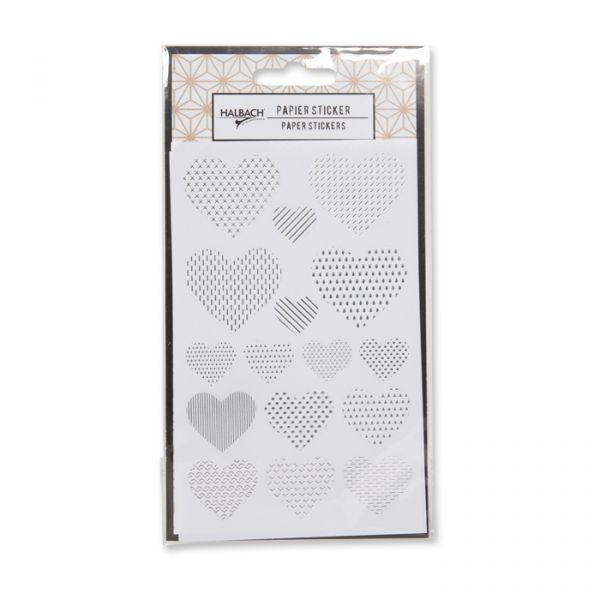 """Papier-Sticker""""Metallic"""" selbstklebend white/silver - heart Hauptbild Detail"""