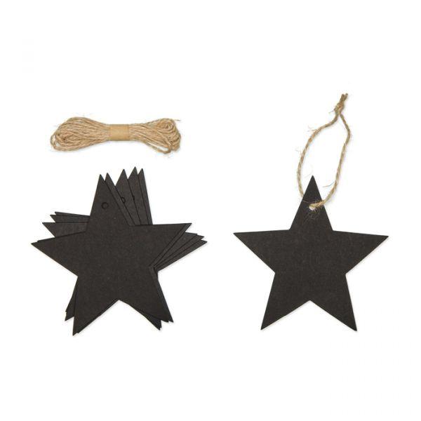 "Papier-Anhänger ""Stern"" black with jute cord Hauptbild Detail"
