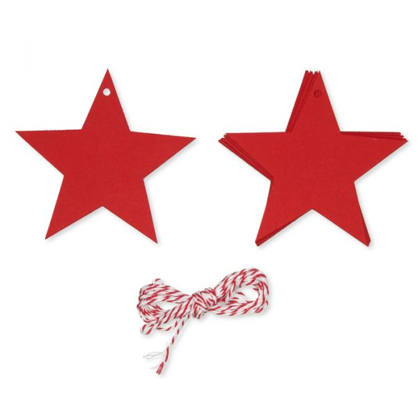 "Papier-Anhänger ""Stern"" red with red/white cord Hauptbild Detail"