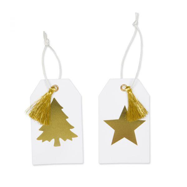 """Papier-Anhänger """"Stern und Baum"""" white/gold Hauptbild Detail"""