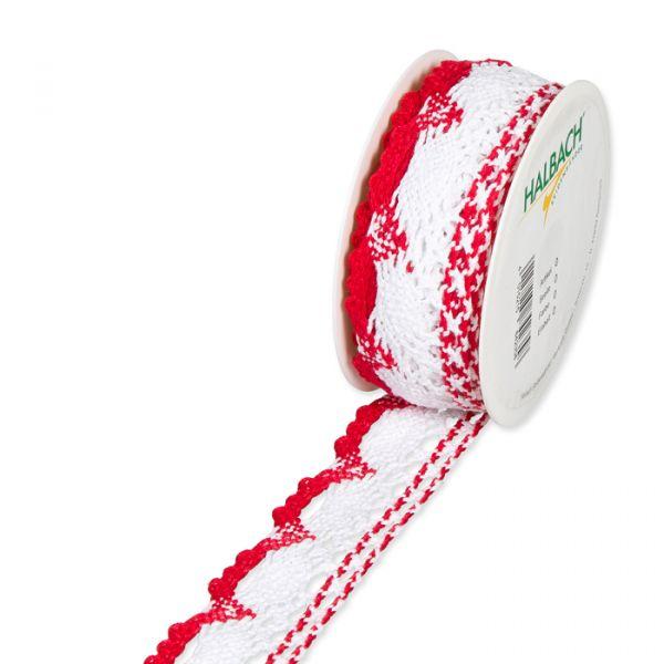 Häkelspitze Baumwolle red/white Hauptbild Listing