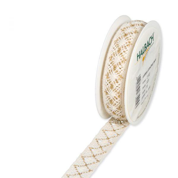 Häkelspitze Baumwolle mit Lurex cream/gold Hauptbild Listing