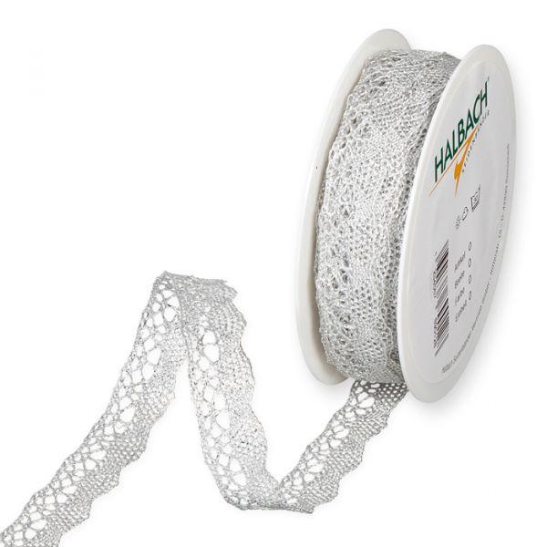 Metallic-Häkelspitze silver/white Hauptbild Listing