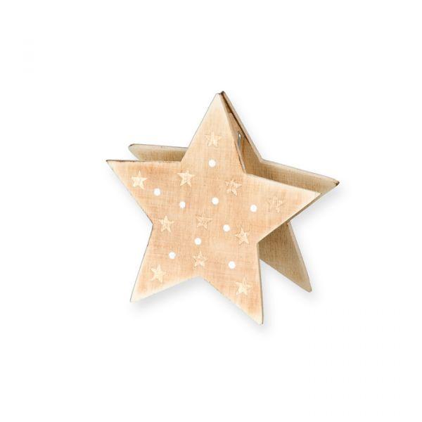 Holz-Aufsteller/-Kartenhalter natural/gold - star Hauptbild Detail