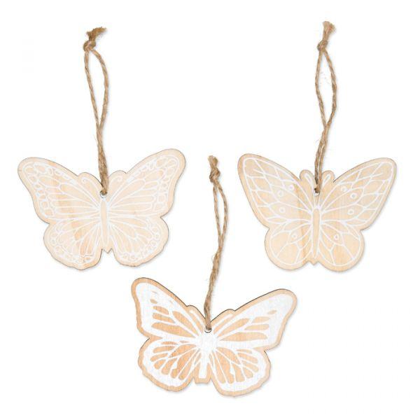 "Holz-Hänger ""Schmetterlinge"" natural/white Hauptbild Detail"