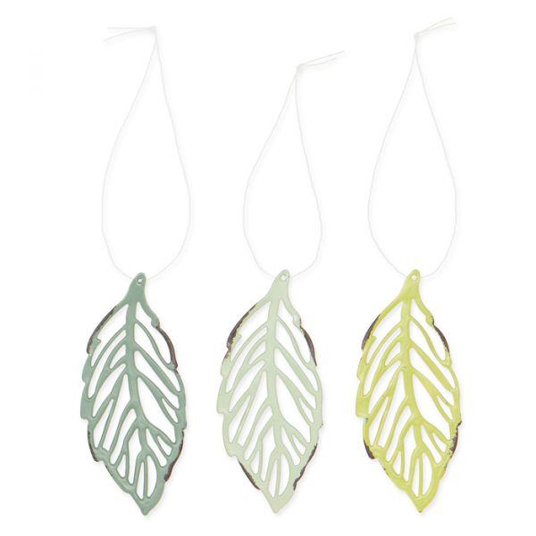 "Metall-Hänger ""Blätter"" sage green/mint/spring green Hauptbild Detail"