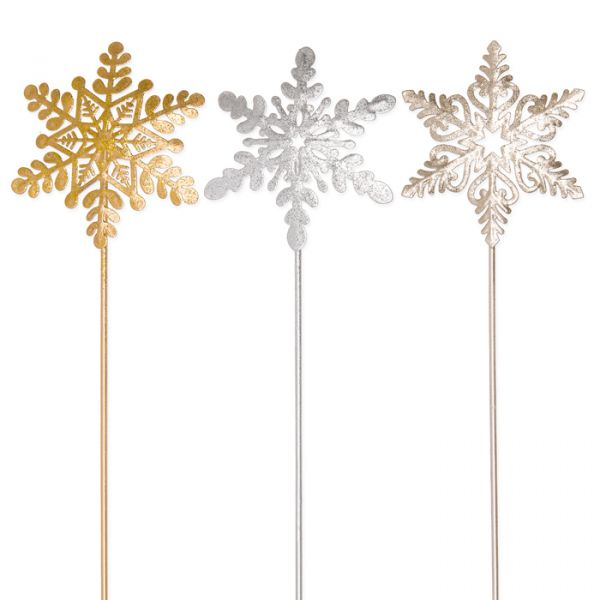 "Metall-Stecker ""Eiskristall"" gold glitter/champagne/silver glitter Hauptbild Detail"