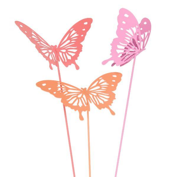 "Metall-Stecker ""Schmetterlinge"" coral/pink/apricot Hauptbild Detail"