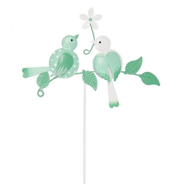 "Metall-Stecker ""Vögel"" white/mint/sage green Hauptbild Detail"