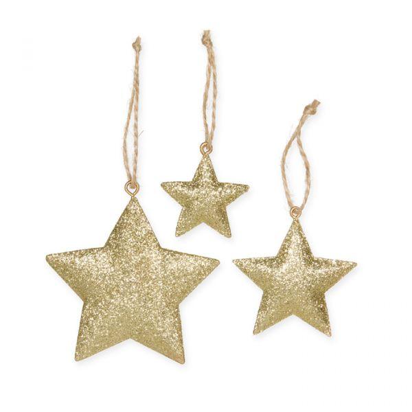 "Metall-Hänger ""Glitter-Sterne"" gold glitter Hauptbild Detail"