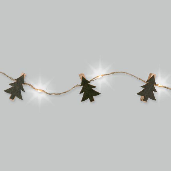 LED-Schnur mit Jutekordel und 12 Holzklammern green - tree Hauptbild Detail