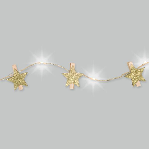 LED-Schnur mit Jutekordel und 12 Holzklammern gold glitter - star Hauptbild Detail