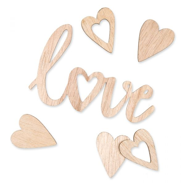 "Holz-Streudeko ""love + Herz"" natural Hauptbild Listing"