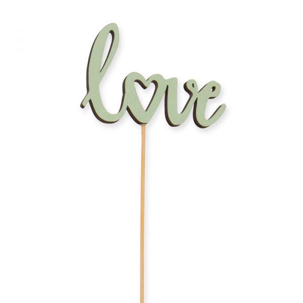 "Holz-Stecker ""love"" green Hauptbild Detail"