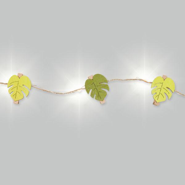 "LED-Schnur ""Monstera"" mit Jutekordel und 12 Holzklammern green/spring green - monstera Hauptbild Detail"