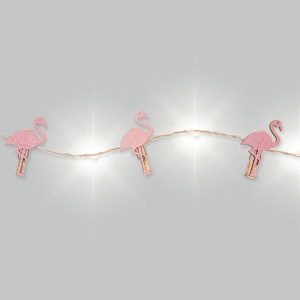 """LED-Schnur """"Flamingo"""" mit Jutekordel und 12 Holzklammern pink Hauptbild Detail"""