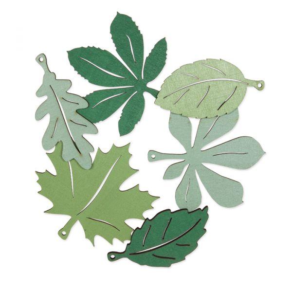 "Holzsortiment ""Herbstblätter"" light olive/fir green/sage green Hauptbild Listing"