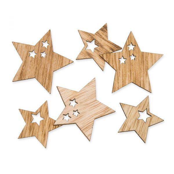 """Holz-Streusortiment """"Sterne"""" natural Hauptbild Detail"""