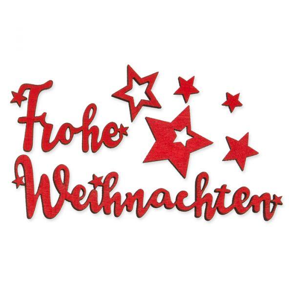 """Holz-Streudeko """"Frohe Weihnachten + Sterne"""" red Hauptbild Detail"""
