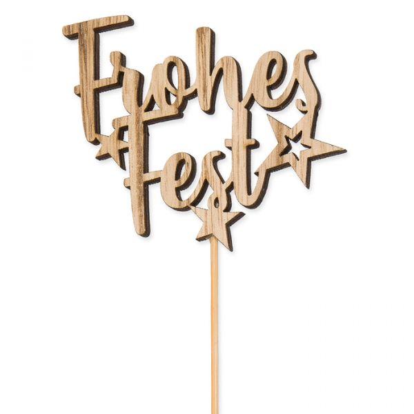 "Holz-Stecker ""Frohes Fest"" natural Hauptbild Detail"