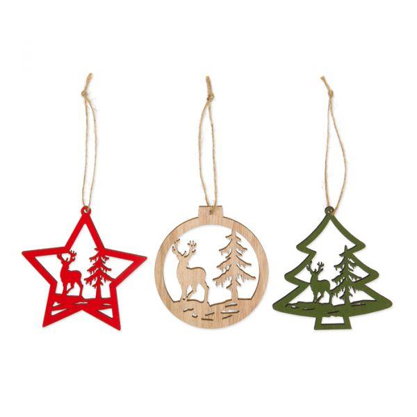 """Holz-Hänger""""Weihnachtsmotive"""" natural/green/red Hauptbild Detail"""