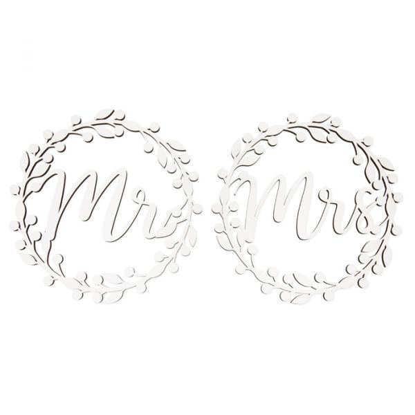 """Holz-Hänger """"Mr & Mrs"""" white Hauptbild Detail"""