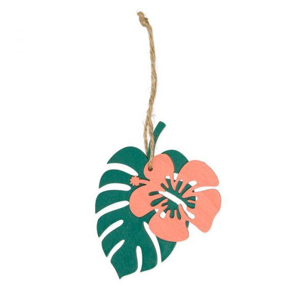 "Holz-Hänger ""Hibiskus"" apricot/green Hauptbild Listing"