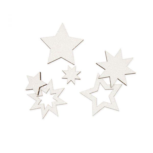 """Holz-Streusortiment """"Sterne"""" white irisée glitter Hauptbild Listing"""