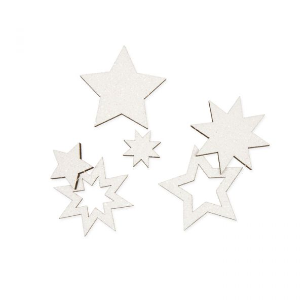 """Holz-Streusortiment """"Sterne"""" mit Loch zum Aufhängen white irisée glitter Hauptbild Listing"""