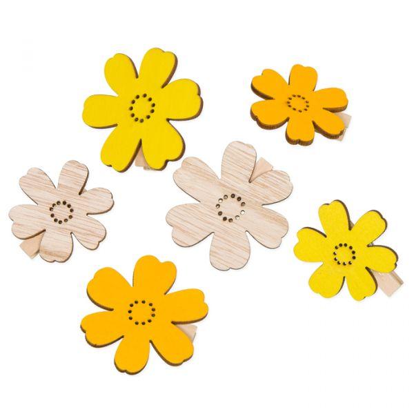 "Holz-Klammern ""Blüten"" yellow/lemon/natural Hauptbild Listing"