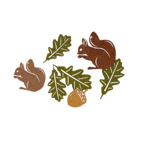 "Filz-Sortiment ""Eichhörnchen"" natural/hazel brown/brown/olive green Hauptbild Listing"