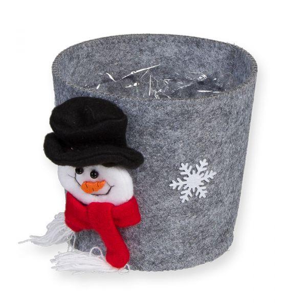 "Filz-Umtopf ""Schneemann"" grey - snowman Hauptbild Detail"