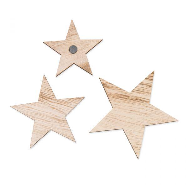 Holzsterne mit Magneten natural Hauptbild Detail