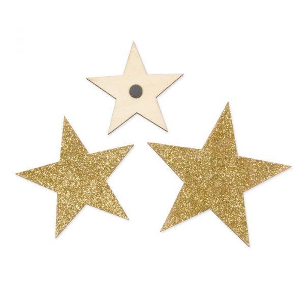 Glitter-Holzsterne mit Magneten gold glitter Hauptbild Detail